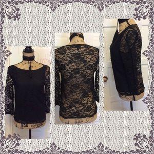 🌸Pretty Topshop Black Floral Lace Blouse 🌸